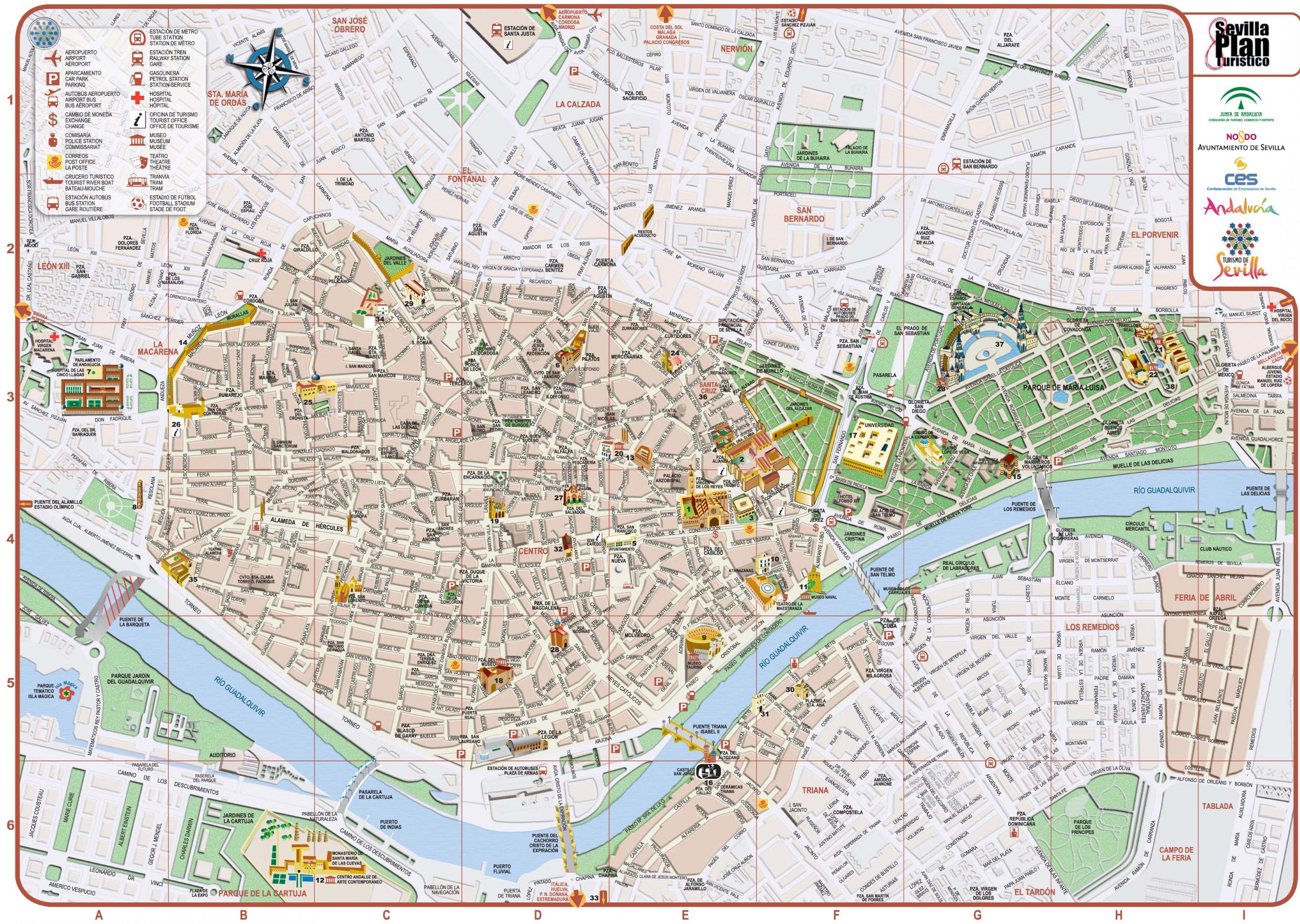 Carte Espagne Telecharger.Centre Ville De Seville Carte Carte De Centre Ville De Seville